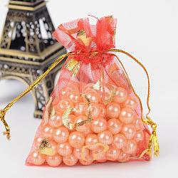 coeur imprimé organza sacs, sacs de faveur de mariage, des sacs-cadeaux, rectangle, rouge, 9x7 cm(X-OP-R022-7x9-07)