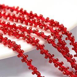 Cordons de perles de semences, avec des câblés en polyester, 6 pli, trou rond, rouge, 6 mm; environ 30 m / bundle(OCOR-R042-17)