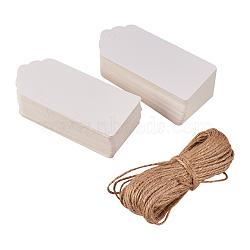 Vitrines de bijoux étiquettes de prix du papier, avec corde de chanvre, chaîne de chanvre, ficelle de chanvre, blanc, 95x45x0.4mm, trou: 5 mm; 100 pcs / ensemble (CDIS-K001-02-A)