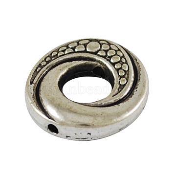 Tibetan Style Alloy Bead Frames, Donut, Cadmium Free & Nickel Free & Lead Free, Antique Silver, 15x4mm, Hole: 1mm(PALLOY-5723-AS-NR)