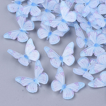 Plastic Cabochons, Butterfly, Light Sky Blue, 12x15x3.5mm(X-KY-T015-16)