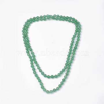Natural Green Aventurine Beaded Multi-strand Necklaces, Double Layer Necklaces, Round, 47.24''~48.03''(120~122cm)(NJEW-S408-09)