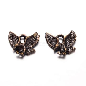Tibetan Style Alloy Pendants, NIcekl Free & Lead Free, Eagle/Hawk Charm, Antique Bronze, 13x13x2mm, Hole: 2mm(TIBEP-20305-AB-NR)