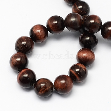 Natural Red Tiger Eye Stone Bead Strands(G-R193-08-10mm)-2