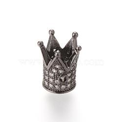 Perles de zircone cubique micro pave en Laiton, couronne, gunmetal, 12x10mm, Trou: 1~5mm(ZIRC-S053-YS009-4)