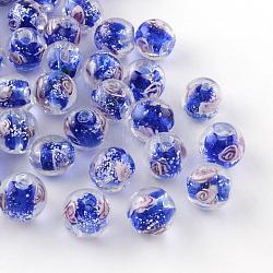 Handmade Luminous Inner Flower Lampwork Beads, Round, Blue, 12mm, Hole: 2mm(X-LAMP-R129-12mm-08)
