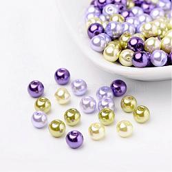 Lavande jardin perles perles nacrées mélange de verre, couleur mixte, 6mm, trou: 1 mm; environ 200 PCs / sachet (HY-X006-6mm-08)