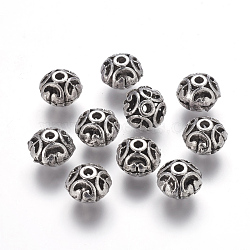 Tibetan Style Alloy Filigree Beads, Round, Antique Silver, Lead Free & Nickel Free & Cadmium Free, 12x10mm, Hole: 3mm(X-LF1693Y-NF)