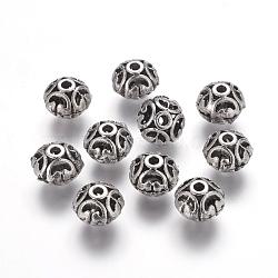 Perles en filigrane d'alliage de style tibétain, rond, argent antique, sans plomb & sans nickel & sans cadmium , 12x10mm, Trou: 3mm(X-LF1693Y-NF)