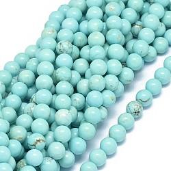 perles naturelles turquoise brins, teints, arrondir, 8 mm, trou: 1 mm; environ 48 perle / brin, 15.7~16.1 (40~41 cm)(G-F604-04-8mm)