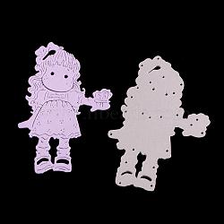 cadre de fille en acier au carbone meurt pochoirs, pour bricolage scrapbooking / album photo, carte de papier de bricolage décoratif, matte platine, 9.1x6x0.08 cm(DIY-F028-63)