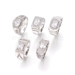 Bagues en 304 acier inoxydable, avec zircons, anneaux large bande, clair, couleur inoxydable, taille 10, 20mm(RJEW-O034-07P-20mm)