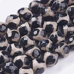 """Perles dzi en alliage de style tibétain, agate naturel, agate motif girafe, teint, ronde à facettes, 12mm, trou: 1mm; environ 32 pcs/chapelet, 15""""(G-H1452-1)"""