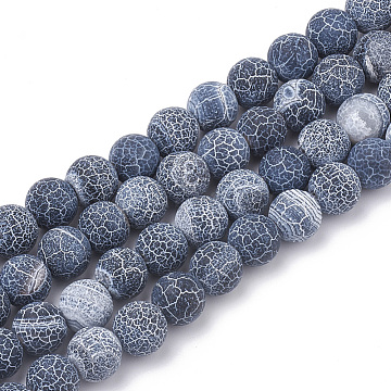 Natural Weathered Agate Beads Strands, Dyed, Frosted, Round, Prussian Blue, 8mm, Hole: 1mm; about 46pcs/strand, 15 inches(X-G-R365-8mm-01)