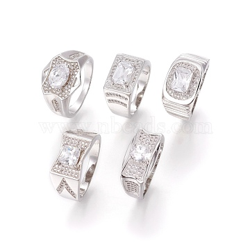 304 Stainless Steel Rings, with Cubic Zirconia, Wide Band Rings, Clear, Stainless Steel Color, Size 10, 20mm(RJEW-O034-07P-20mm)