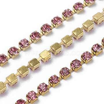 Brass Rhinestone Strass Chains, Rhinestone Cup Chain, 2880pcs rhinestone/bundles, Grade A, Light Rose, 2mm, about 28.87 Feet(8.8m)/bundle(CHC-S6-04C-1)