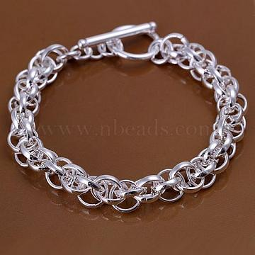 Unisex Brass Rope Chain Bracelets, with Toggle Clasps, Silver Color Plated, 200x8mm(BJEW-BB12507)