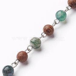 """Chaînes en perles d'agate naturelles faites à la main, non soudée, avec des perles en bois et une épingle à oeil en fer, 39.37"""" (1m) / brin(AJEW-JB00441-02)"""