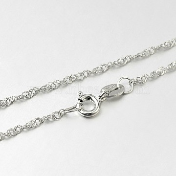 Trendy 925 Sterling Silver Chain Necklaces, with Spring Ring Clasps, Platinum, 18 inches, 2x0.2mm(STER-M050-B-18)