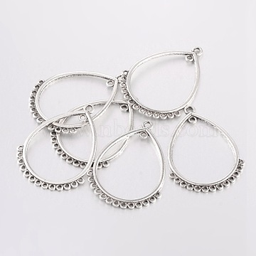 Tibetan Style Connectors, Zinc Alloy Connectors, Lead Free,Cadmium Free and Nickel Free, teardrop, Antique Silver, 47mm long, 36mm wide, hole: 1mm(X-EA089Y-NF)