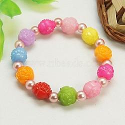 Bracelets extensibles à la mode pour enfants, avec de l'acrylique perle des perles d'imitation et de perles de fleurs colorées acryliques, rose, 45mm(BJEW-JB00676-04)