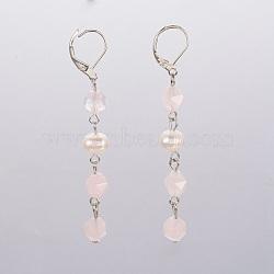Boucles d'oreilles à levier en quartz rose naturel, facette, avec perles nacrées, accessoires en fer et accessoires de dormeuse en laiton, 70mm, pendentif: 53~54x7~9 mm(EJEW-JE02822-03)