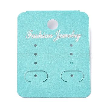 Plastic Jewelry Display Cards, for Hanging Earring Display, Rectangle, Dark Turquoise, 50x40x4.5mm, Hole: 1.4mm and 6mm, 100sheets/bag(DIY-K032-13)