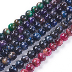 Natural Tiger Eye Beads Strands, Dyed & Heated, Round, Mixed Color, 8mm, Hole: 1mm; about 48pcs/strand, 15.35