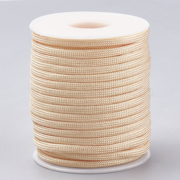 Polyester Cords, PeachPuff, 4mm; about 15yards/roll(OCOR-Q047-02E)