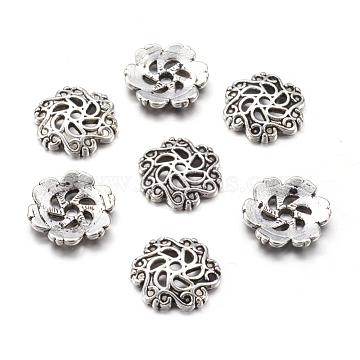 Tibetan Style Alloy Bead Caps, Lead Free & Cadmium Free, Flower, Antique Silver, about 13mm in diameter, 2.5mm thick, hole: 1.5mm(X-LF10206Y)