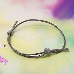 Création de bracelets en corde de polyester ciré coréen, slategray, diamètre réglable: 40~70 mm(AJEW-JB00011-16)