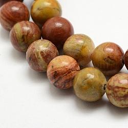 """Chapelets de perles en jaspe arc-en-ciel rouge, rond, 8mm, trou: 1mm; environ 47 pcs/chapelet, 15.3"""" (39cm).(X-G-E382-06-8mm)"""