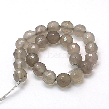 Natural Grey Agate Beads Strands, Faceted Round, 8mm, Hole: 1mm; about 24pcs/strand, 7.87inches(X-G-G067-8mm-1)
