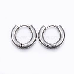 304 boucles d'oreilles huggie en acier inoxydable, boucles d'oreilles hypoallergéniques, 316 avec broches en acier inoxydable, couleur inox, 13x14 mm; broches: 1 mm(EJEW-F111-14mm-P)