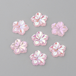 Acrylic Cabochons, AB Color Plated, Flower, PearlPink, 12.5x13x2mm(X-MACR-Q183-09)