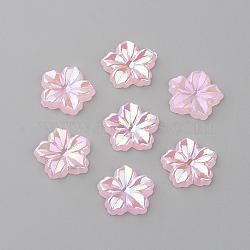 cabochons acryliques, ab couleur plaquée, fleur, pearlpink, 12.5x13x2 mm(X-MACR-Q183-09)