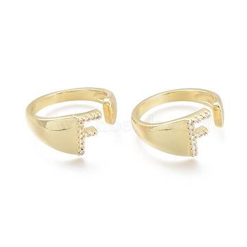 Brass Micro Pave Clear Cubic Zirconia Cuff Rings, Open Rings, Letter, Letter.F, Size 7, Inner Diameter: 17mm; F: 9x6mm(RJEW-F103-13F-G)