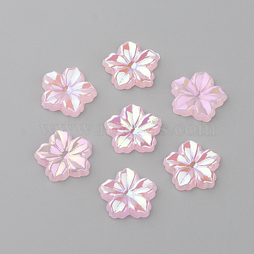 Acrylic Cabochons, AB Color Plated, Flower, Pearl Pink, 12.5x13x2mm(X-MACR-Q183-09)