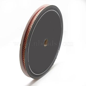 Braided Nylon Ribbons, OrangeRed, 3/8inch(10mm); about 25yards/roll(22.86m/roll)(SRIB-N003-09A)