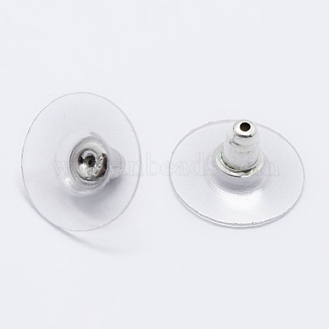 925 Sterling Silver Ear Nuts, Carved 925, Platinum, 6.5x12mm, Hole: 0.8mm(X-STER-K167-038P)