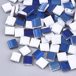 Déposer des perles de rocaille en verre opaque, 2-trou, rectangle, blanc, 5x4.5~5.5x2~2.5mm, Trou: 0.5~0.8mm(SEED-S023-18C-01E)