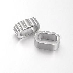 304 glissière ovale en acier inoxydable / perles coulissantes, pour la fabrication de bracelets en cuir, couleur inoxydable, 7x17x10.5mm, Trou: 6x12mm(STAS-N057-03B)
