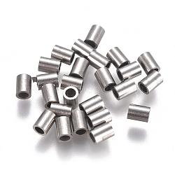 304 inoxydable perles de tubes d'acier, couleur inox, 4x3 mm, trou: 2 mm(STAS-F224-01P-A)
