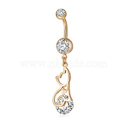 Piercing Jewelry, Brass Cubic Zirconia Kitten Navel Ring, Belly Rings, with Use Stainless Steel Findings, Cadmium Free & Lead Free, Real 18K Gold Plated, Cat Shape, Clear, 48x9mm, Pin: 1.5mm(AJEW-EE0003-11)