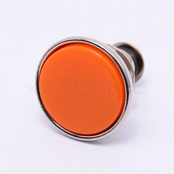 Alloy Jeans Buttons, with Resin, Garment Accessories, Flat Round, Coral, 16x15mm, Pin: 1.2mm, Hole: 1.2mm(PJ-TAC0003-01P-02)