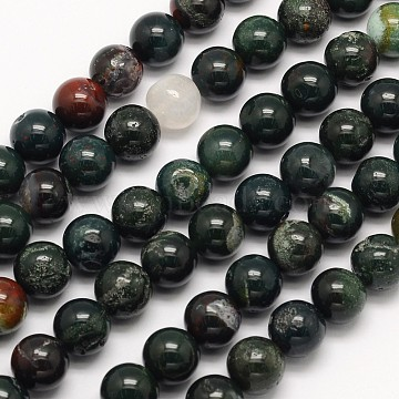 Natural Bloodstone Beads Strands, Heliotrope Stone Beads, Round, 10mm, Hole: 1mm; about 40pcs/strand, 15.5 inches(G-N0166-04-10mm)
