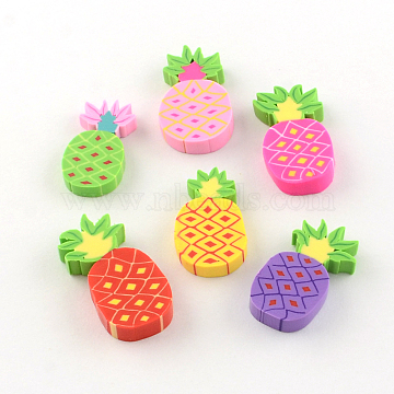 Handmade Pineapple Polymer Clay Cabochons, Mixed Color, 22~27x12~15x3~4mm(X-CLAY-R060-72B)