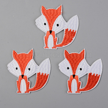 Computerized Embroidery Cloth Iron on/Sew on Patches, Appliques, Costume Accessories, Fox, Orange Red, 65x63x1.5mm(X-DIY-S040-035)