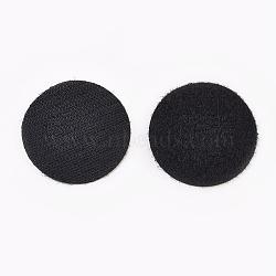 Bandes magiques en nylon, crochet et boucle bandes adhésives, plat rond, noir, 50 mm(FIND-WH0026-01)