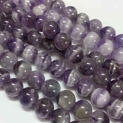 Gemstone Beads Strands, Natural Grade B Amethyst, Round, Purple, 8mm, Hole: 1mm; about 50pcs/strand